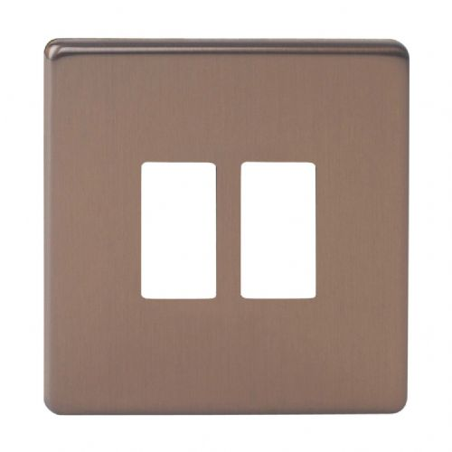 Varilight XDYPGY2S.BZ Screwless Brushed Bronze 2 Gang Grid Plate (Single Plate)